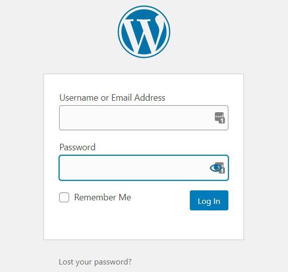 How to start blogging WordPress login screen image