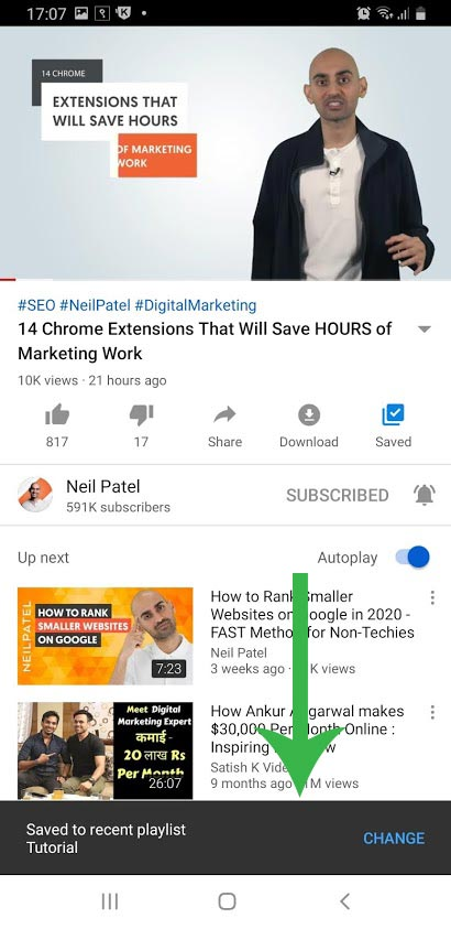 YouTube app saved popup