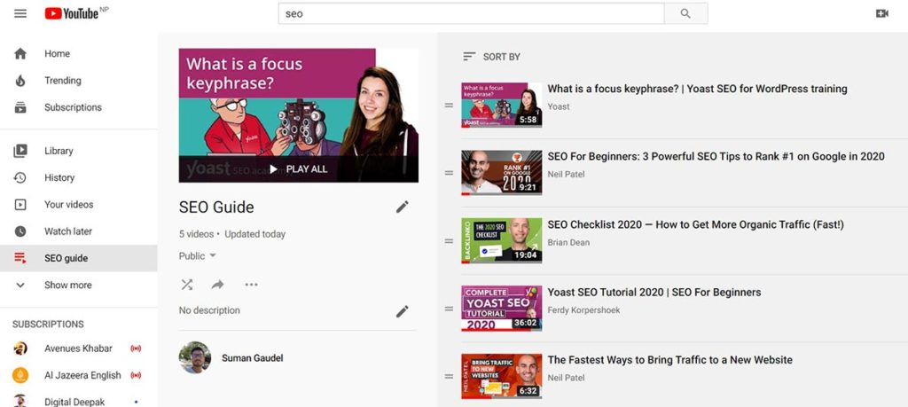 YouTube Playlist Screenshot