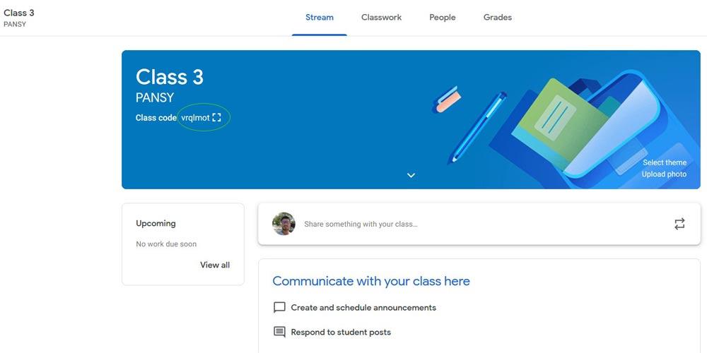 Created classroom screenshot