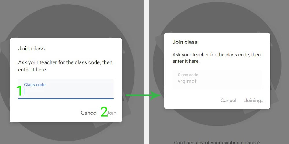 Joining the class screenshot