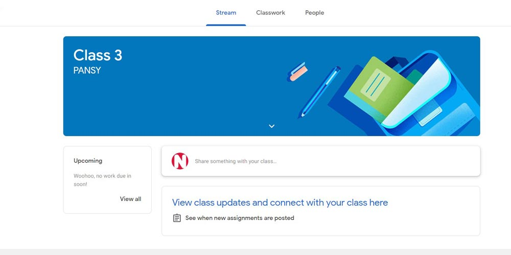 Joined classroom screen