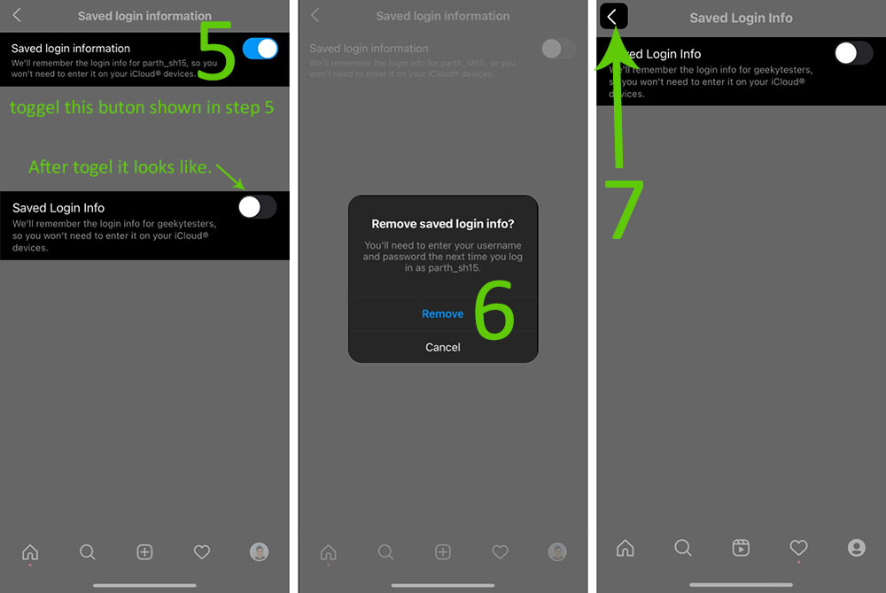 remove a remembered account on Instagram from iPhone step 5 to 7 screenshot