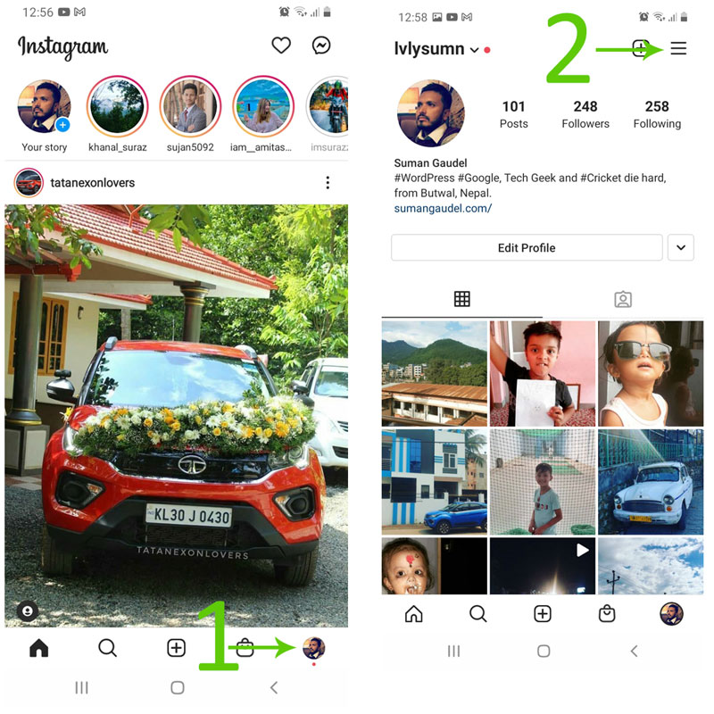 Remove remembered account on Instagram from android apps step 1 and 2 screenshot