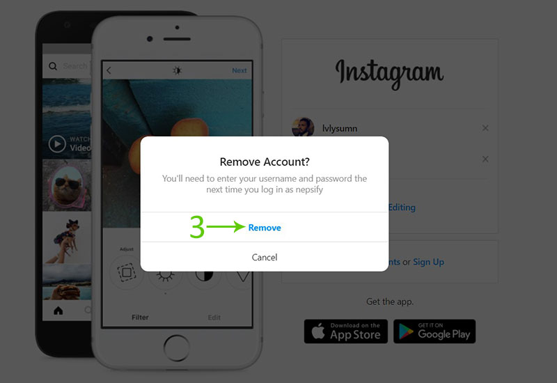 Remove a remembered Instagram account from PC step 3 screenshot