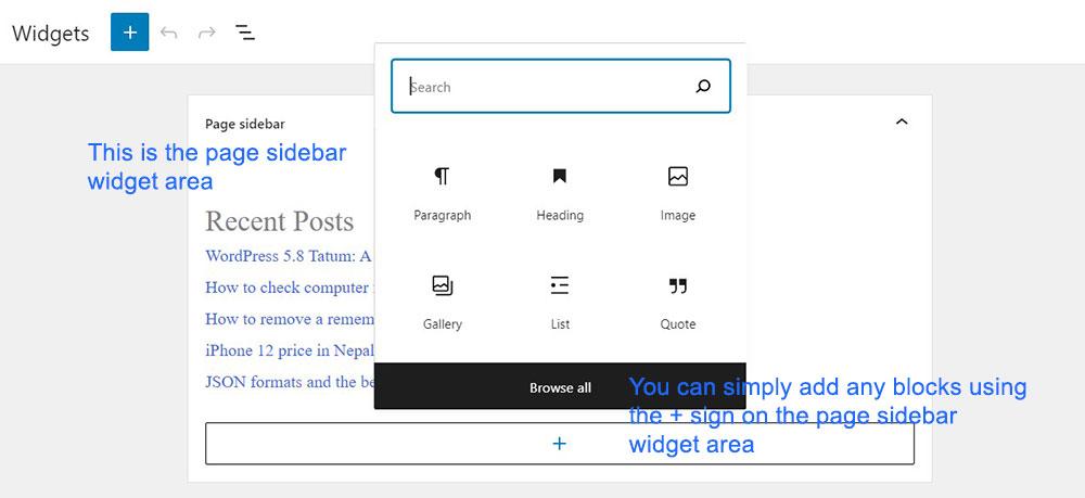 Add blocks to any widget area