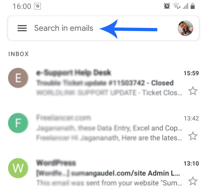 Mobile Gmail app search
